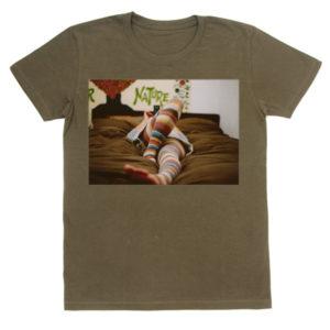 写真プリントTシャツ フォトTシャツ オリーブ